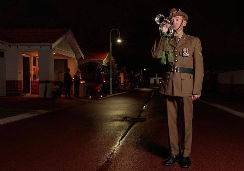 Retired Lance Corporal David Scott played The Last Post at his Perth retirement village.