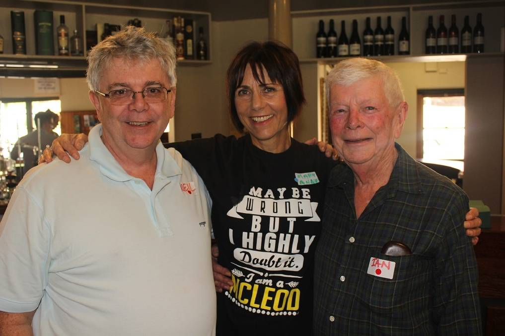 CATCHING UP: Neil McLeod, Maryanne Martin and Ian McLeod at the annual family gathering at Cavendish.