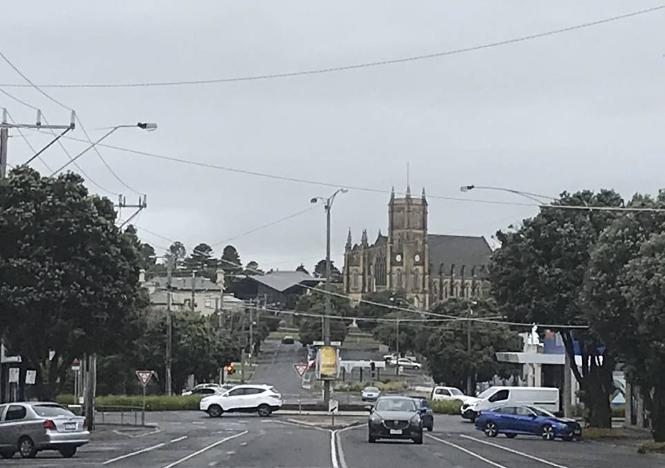 Grey day: Looking north up Warrnambool's Kepler Street this morning. Warrnambool is expecting a top of 18 degrees today. At 7.30am it was 13.7.
