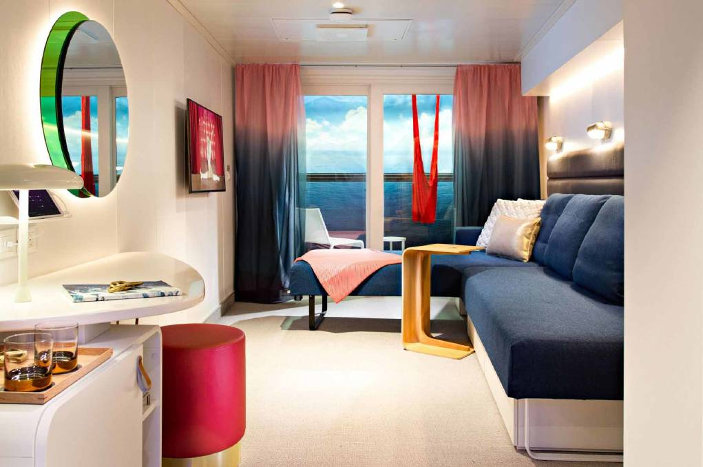Cabins on board the Virgin Voyages have all the creature comforts.
