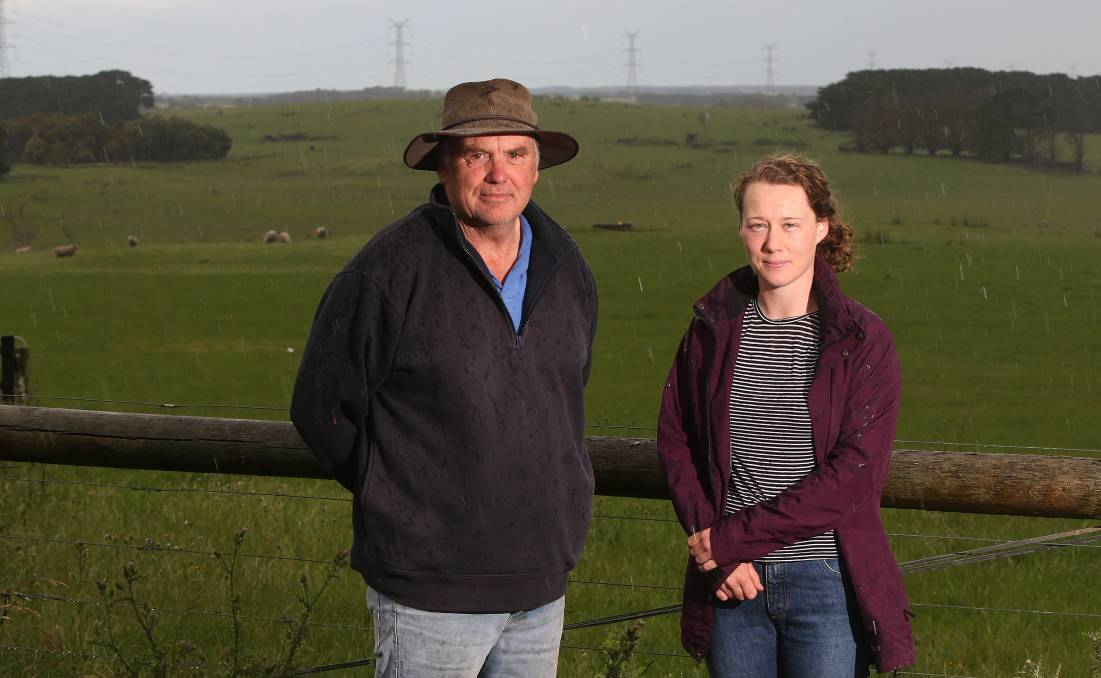 ISSUE RETURNS: Jeff Glare and daughter Alice Glare are concerned about the proposed route of a Ryan Corner wind farm transmission line proposed to run 6.2 kilometres on their property. Picture: Mark Witte