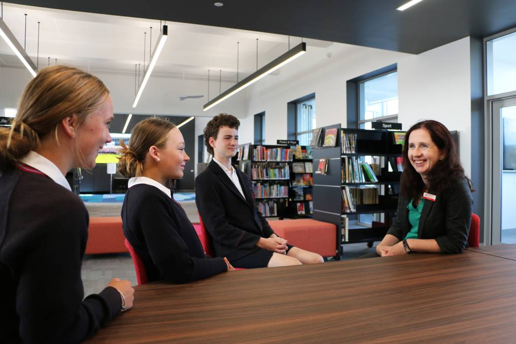 Emmanuel Year Nine students, Brigid Ewing, Ziggy Wright and Sawyer Whichello discuss 9@RICE with Dr Josie Monro.