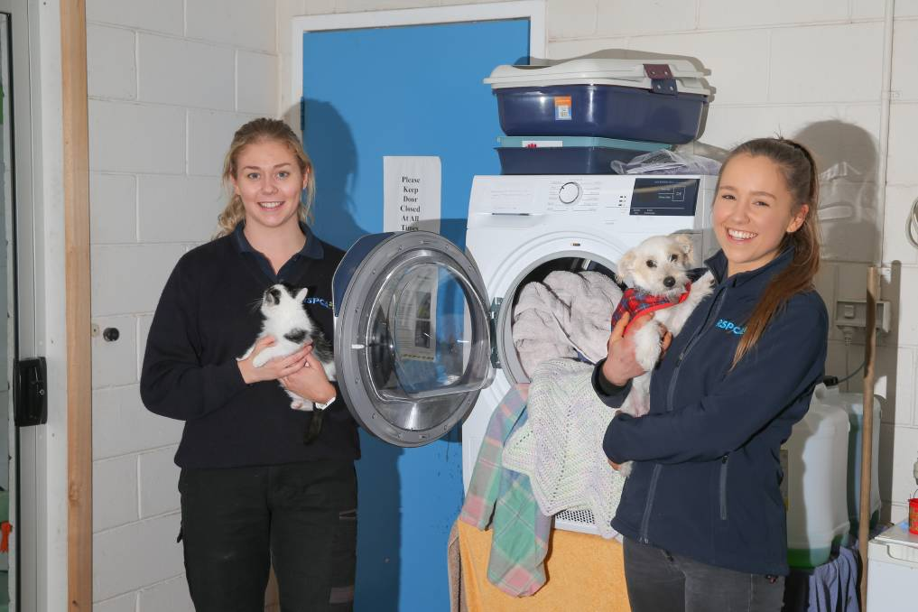 Generosity: Warrnambool RSPCA workers Chelsea Mason and Isabella Hodge with the new dryer. Picture: Mark Witte