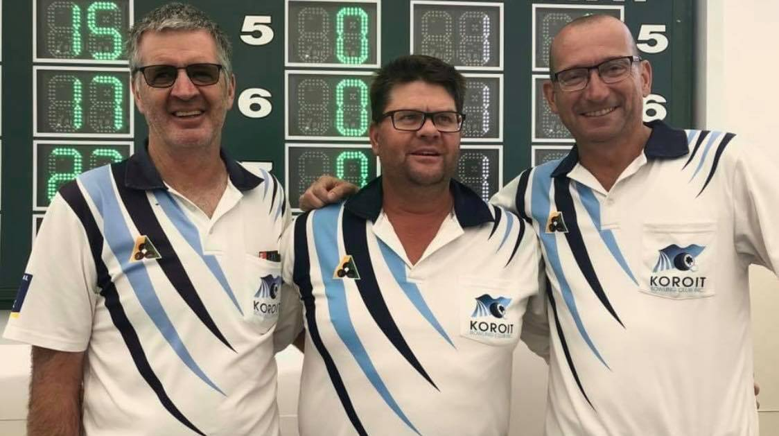 TRIO: Koroit Bowls Club's Blackie Lenehan, Scott Boschen and Peter Daly are competing in men's triples during State Champions Week.