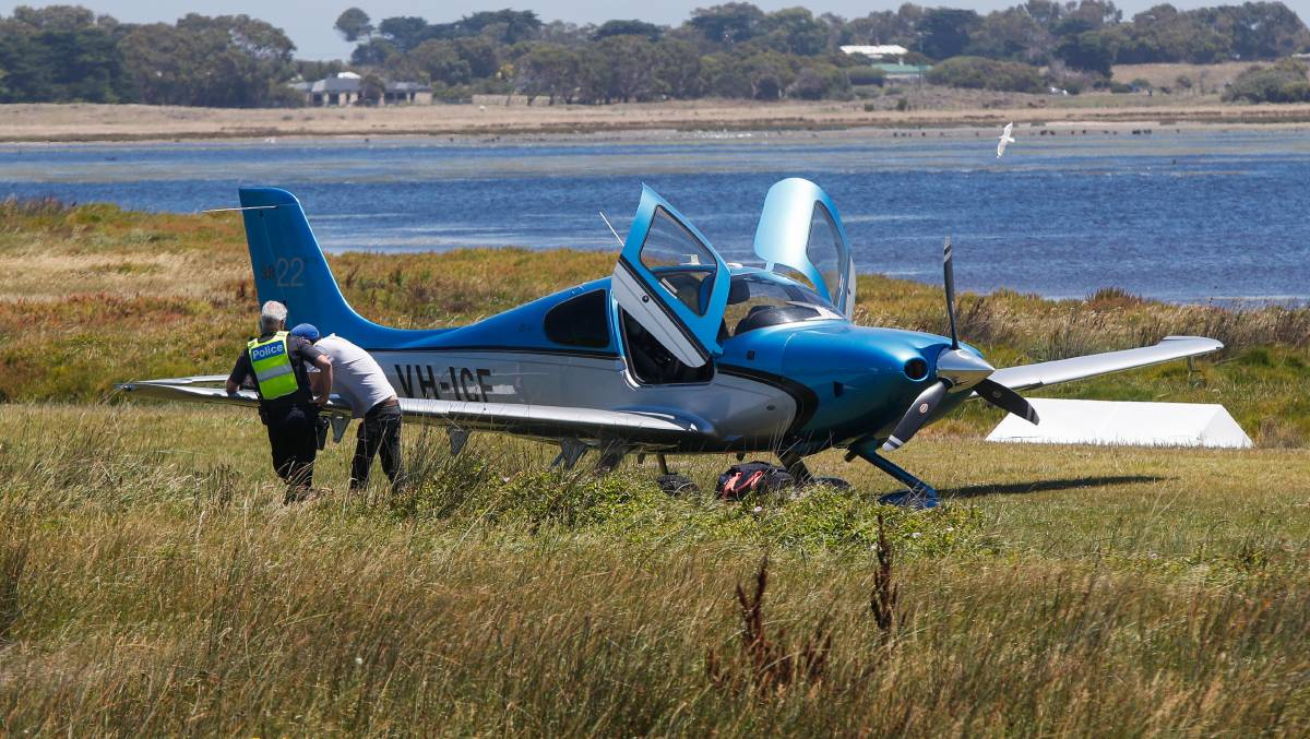 STUCK: A plane was bogged on the Port Fairy airstrip on Saturday. Pictures: Morgan Hancock