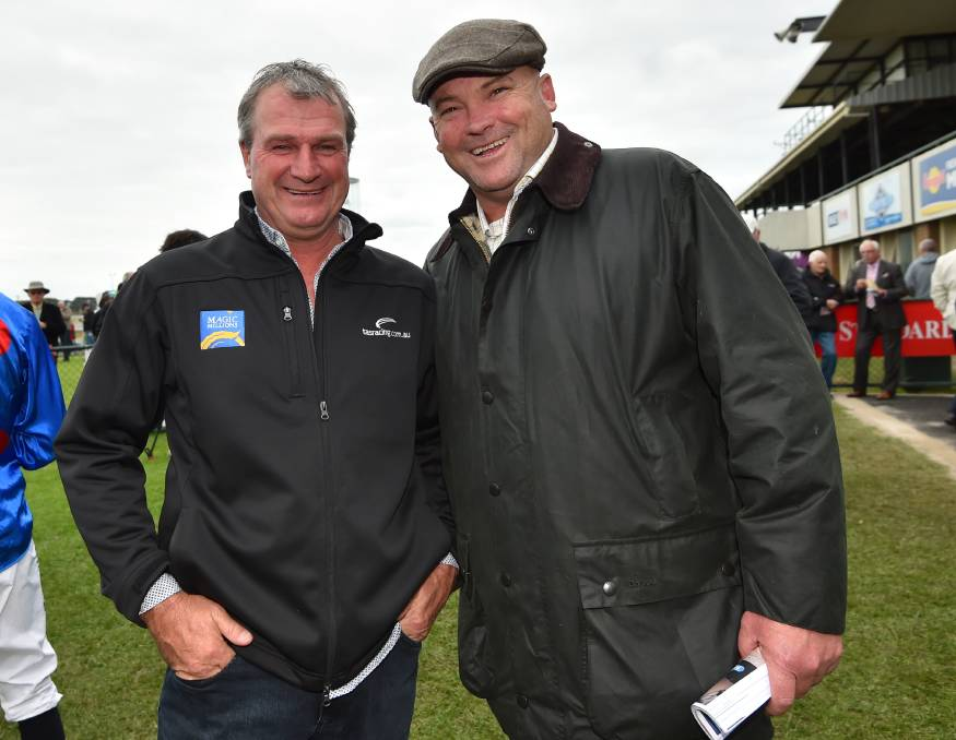 TOP TEAM: Ballarat trainer Darren Weir, pictured with former Black Caviar leader Peter Moody, notched 14 winners at the 2017 May Racing Carnival. Picture: Vince Caligiuri/Getty Images