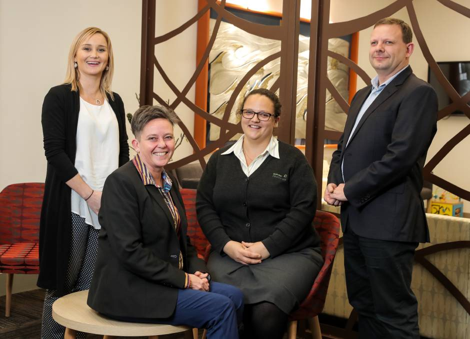 Caring: The clinical placement program members Sarah Ramsdale, Dr Terri Hayes, Sharna Purcell and Dr Ian Collins will a new pilot program.  Picture: Rob Gunstone