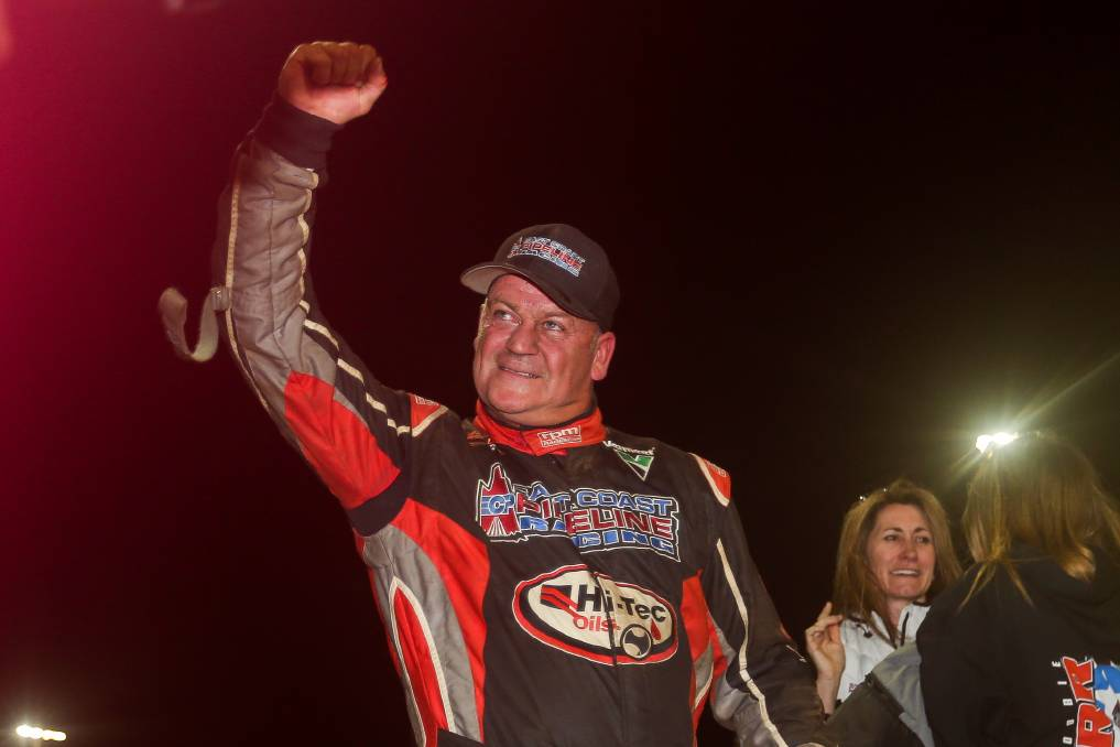 HE'S BACK: Robbie Farr celebrates winning the 2019 South West Conveyancing Grand Annual Sprintcar Classic. Picture: Morgan Hancock