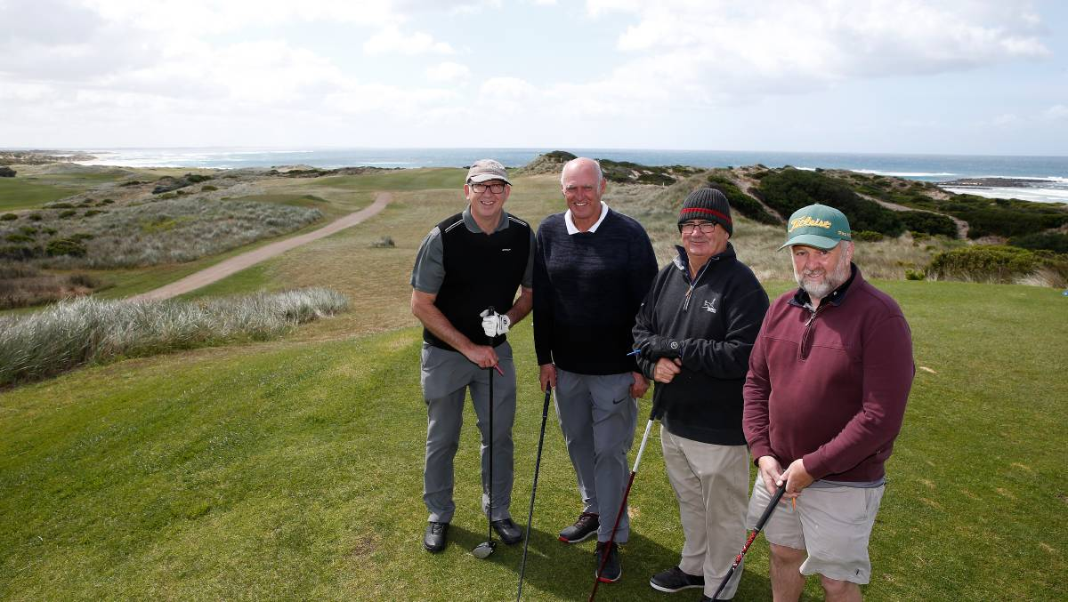 By the sea: Golfer's Stuart Smith, Allan Sullivan, Peter Keane and Gary Thomson at Port Fairy Golf Links 14th hole. Picture: Mark Witte