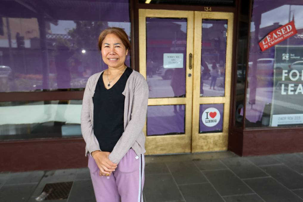 NEW BUSINESS: Lamphai 'Piao' Sonsaeng poses in front of the renovations at Madala 134, set to become Warrnambool's newest Thai restaurant. Picture: Morgan Hancock