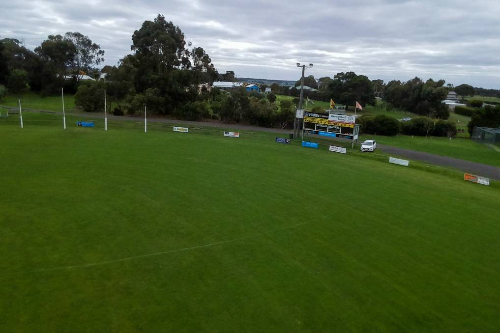 READY TO GO: North Warrnambool Eagles' Bushfield Recreation Reserve as shot from above. Picture: Morgan Hancock