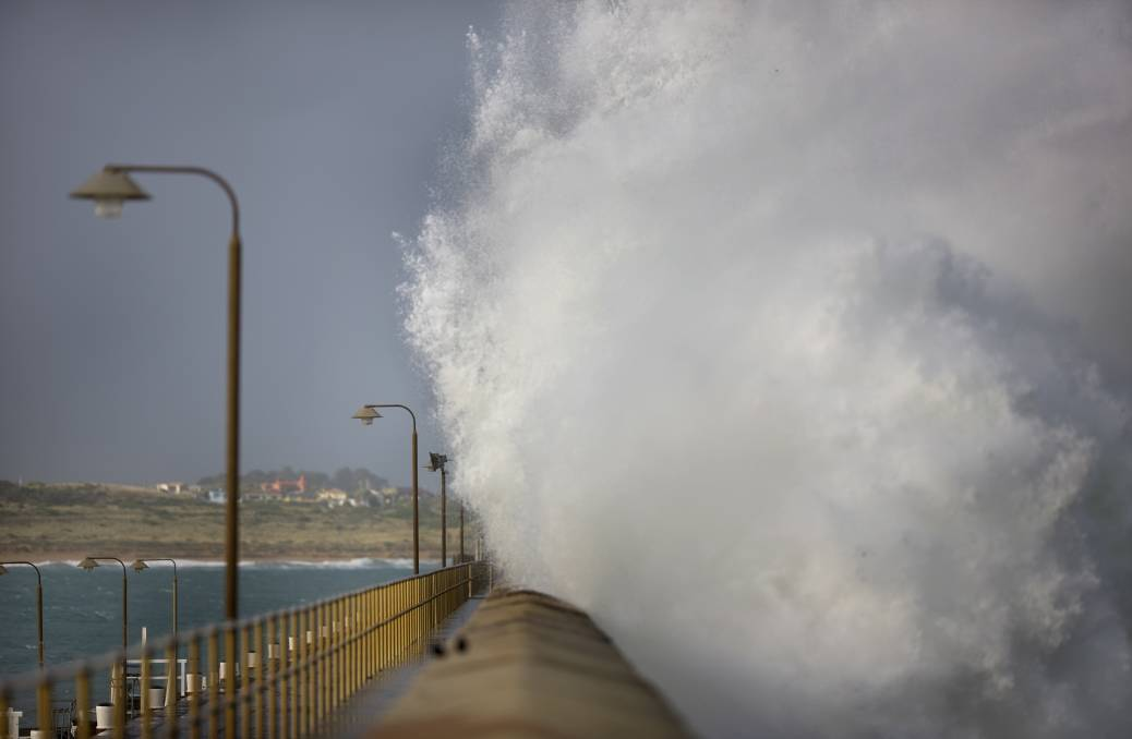 WET: Warrnambool's breakwater in 2017. The BOM is expecting particularly high swells across the coat on Saturday and into Sunday. Picture: Perry Cho
