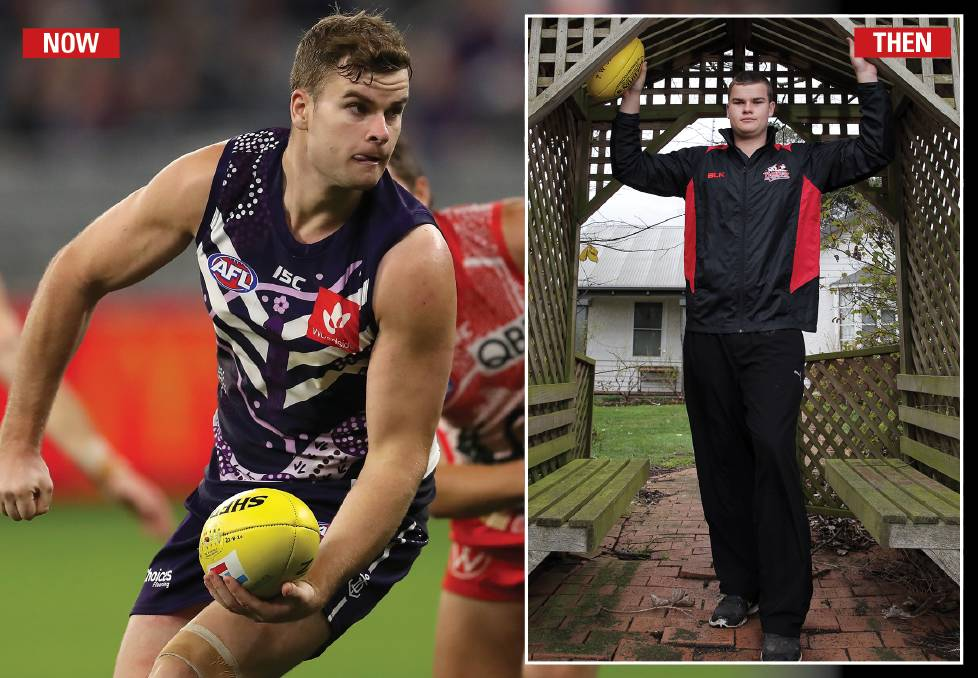GIANT LEAP: Fremantle ruckman Sean Darcy honed his skills playing juniors for Cobden, in Victoria's south-west. He played one Hampden league senior game before he was drafted. Picture: Getty Images (main)