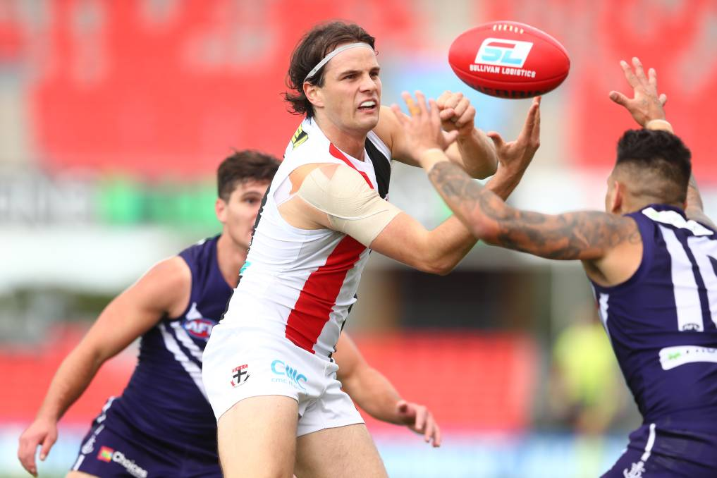 HUNTING AND GATHERING: St Kilda's Hunter Clark can win the ball on the inside and outside and is proving a reliable asset for new coach Brett Ratten as the Saints chase a finals berth in 2020. Picture: Getty Images