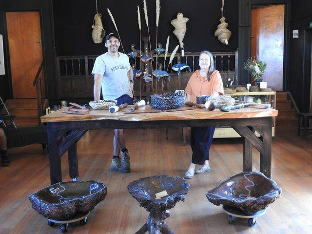 OPEN: Heywood wooden tools and bowls creator Leon Walker with Two Rivers Gallery project manager Deb Saunders. Picture: Colleen Hamilton