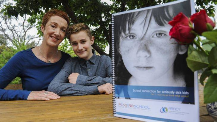 Co-founder of Missing School Inc, Megan Gilmour, at her home in Hawker with her son, Darcy, 15. Photo: Graham Tidy