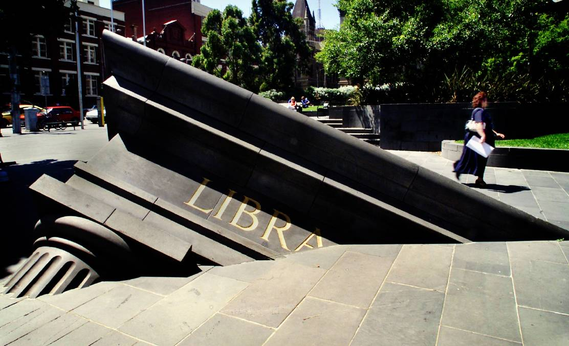 The sculpture Architectural Fragments on the corner of Swanston and LaTrobe streets in Melbourne has been rated as among the world's most creative public sculptures. Picture: THE AGE